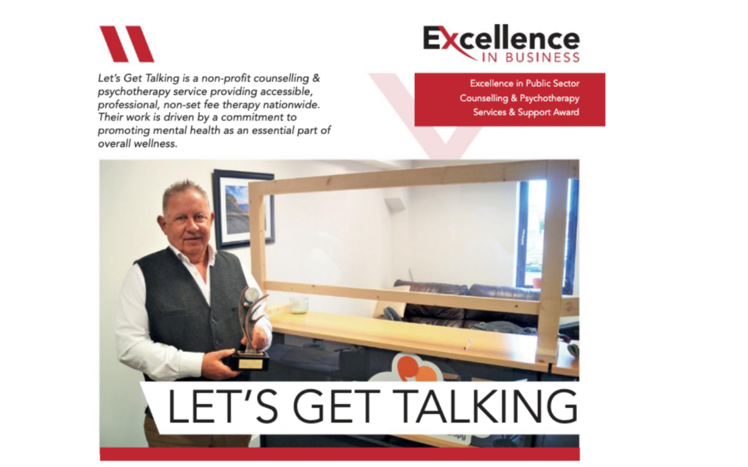 """Let's Get Talking win """"Excellence in Public Sector Counselling & Psychotherapy Services & Support Award"""""""